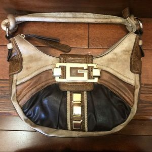NEW GUESS Distressed Leather Hobo Crescent NLA